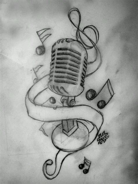 microphone tattoo sketch old microphone with music notes drawings pinterest