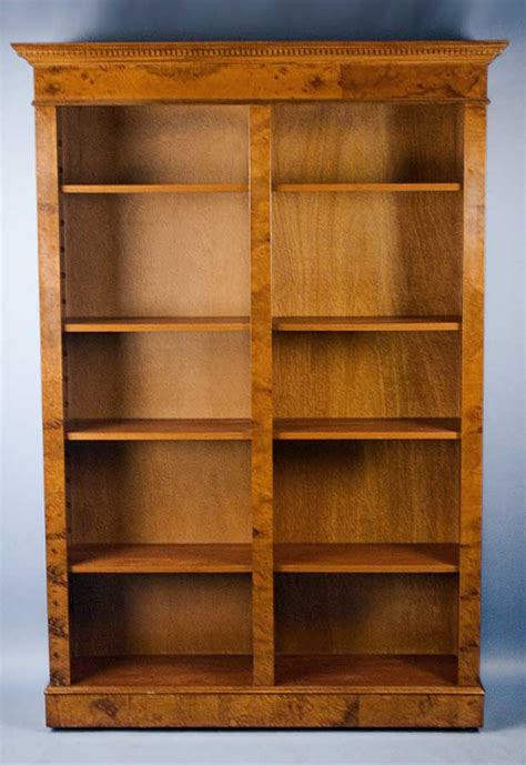 Antique Style Walnut Double Bookcase For Sale Antiques Vintage Bookshelves For Sale