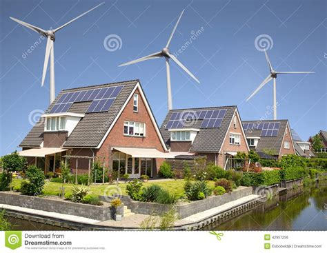 solar panels and wind turbines for homes solar panels and windturbines stock photo image 42957256