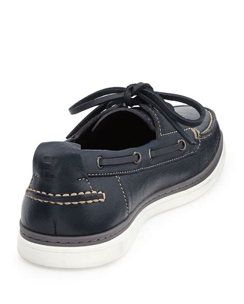 zegna shoes ermenegildo zegna leather boat shoe in blue for lyst