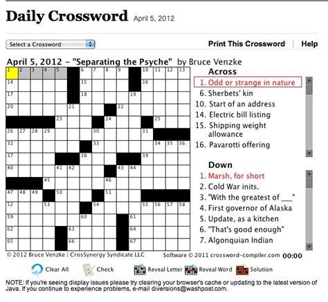printable crossword puzzle washington post washington post crossword