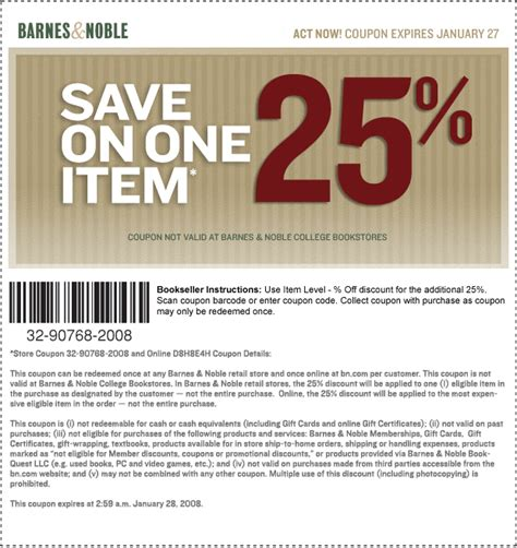 barnes amp noble coupon codes january 2015