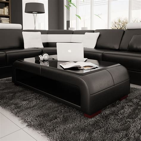 coffee table for black leather couch divani casa ev30 modern black bonded leather coffee table