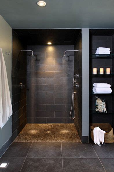 Double Headed Shower Gray Pinterest Showers Bathroom With Open Shower