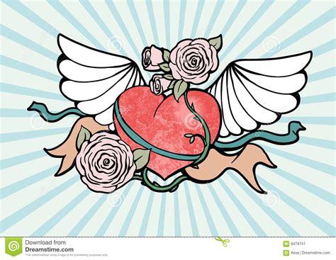 tattoo cuore con le ali cuore con le ali e le rose illustrazione vettoriale