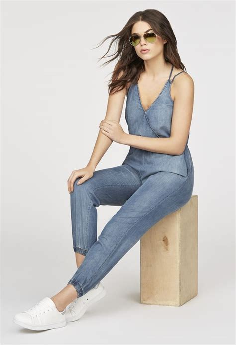 Jumpsuit Tiffani chambray jumpsuit clothing in malibu get great deals at justfab