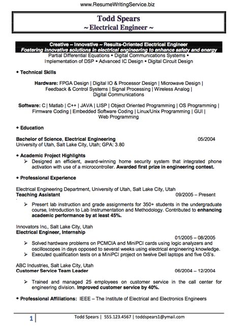 electrical engineer sle resume electrical engineer resume professional entry level