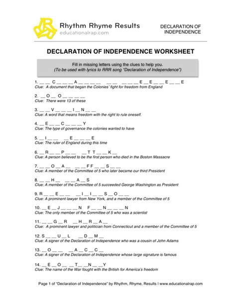 printable quiz on declaration of independence number names worksheets 187 social studies pdf worksheets
