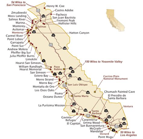 california map central coast california state parks on the guide to california