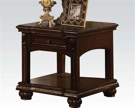 traditional accent tables traditional end table in cherry anondale by acme furniture