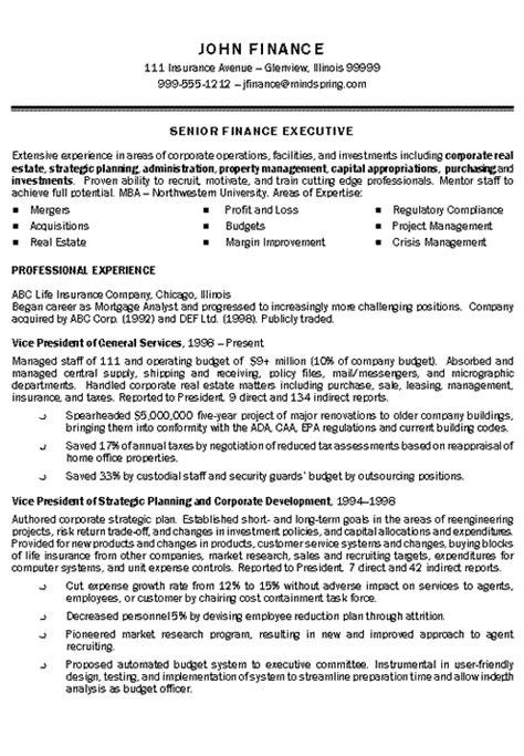 insurance executive resume exle executive resume and