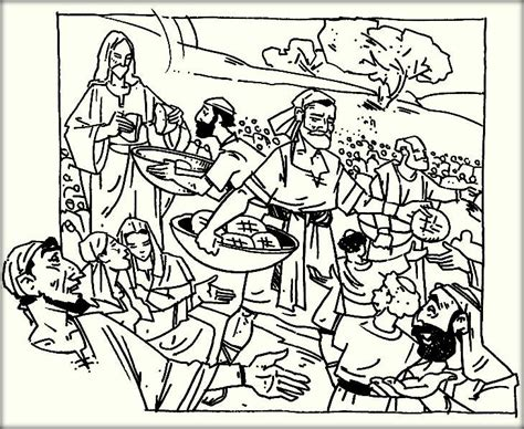 Coloring Page Feeding 5000 by Pictures To Color Of Jesus Feeding 5000 The Jinni