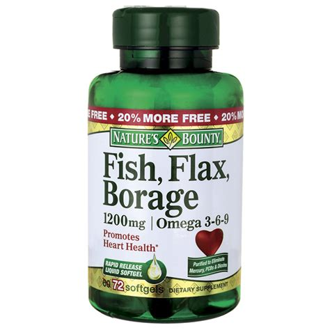 Flaseed Natures Bounty nature s bounty fish flax borage omega 3 6 9 1 200 mg 72 sgels swanson health products