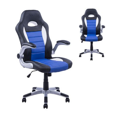 racing gaming desk chair homcom pu leather racing office chair black blue white