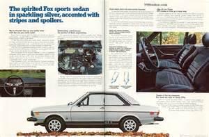 1978 Audi Fox Gti 1978 Audi Fox Gti Dealer Brochure Vwdasher