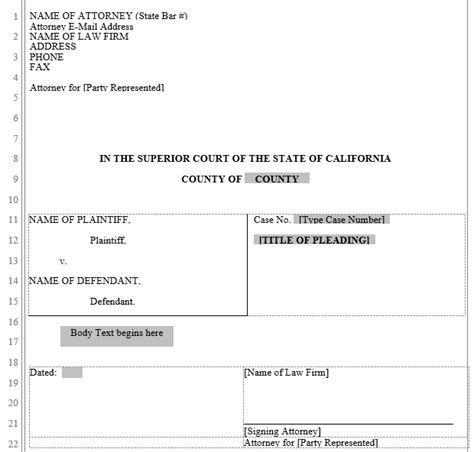 pleadings template pleading form california superior court word automation