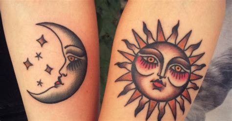 traditional sun tattoo traditional matching sun and moon tattoos