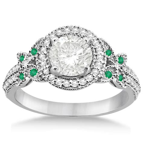 butterfly emerald engagement ring band 14k
