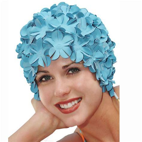 flower swim cap vintage style flower swim cap pastel blue by