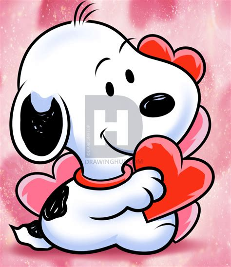 drawing valentines how to draw snoopy step by step drawing guide