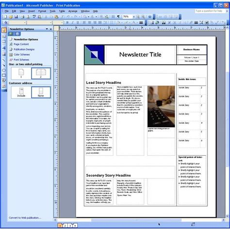 template for publisher newsletter templates free for microsoft publisher