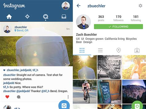 layout instagram psd instagram ui material design psd freebiesbug