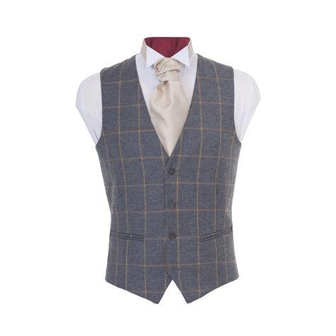 Mens Wedding Suits Brochure by Tweed Waistcoat In Beige Check Coes