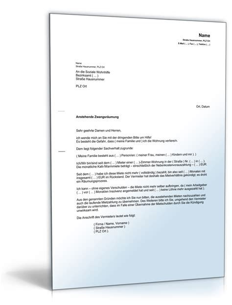 Schreiben Stellungnahme Muster Erkl 228 Rung Der Notlage Durch Drohende Wohnungsr 228 Umung