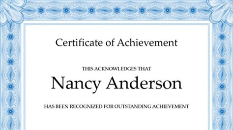 certificate of achievement blue office templates