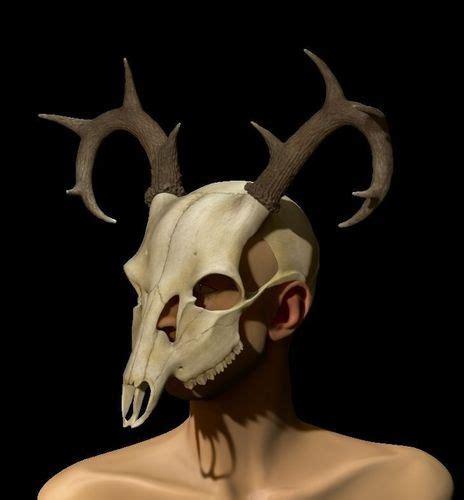 printable mask of deer halloween mask deer skull 3d printable model creepy