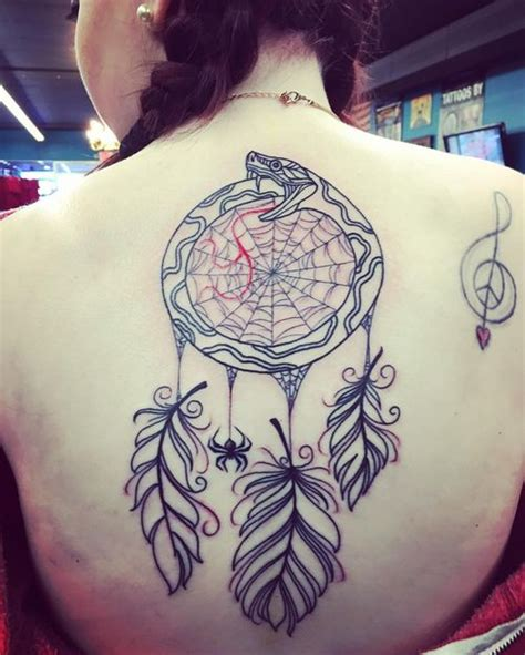 dreamcatcher tattoo back piece 50 ouroboros tattoo ideas and meaning 2018