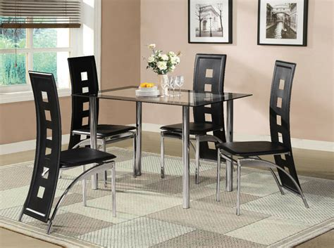 glass table and chairs black glass dining room table set and with 4 or 6 faux