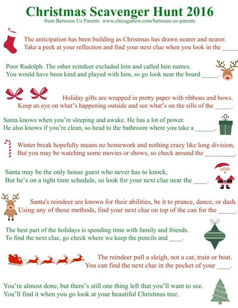 printable christmas scavenger hunt clues between us