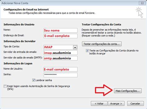 porta imap outlook 2010 protocolo imap