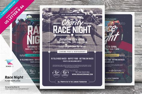 Race Night Flyer Templates By Kinzi21 Graphicriver Free Race Flyer Template