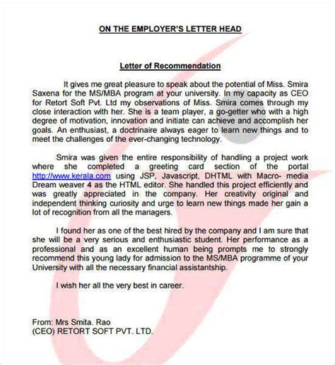 Recommendation Letter From Employer For Ms In Cs Recommendation Letter Template Free Word Pdf Format Creative Template