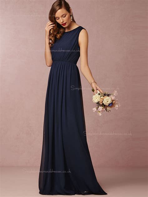 Navy Bridesmaid Dress by Shop Inviting A Line Ruched Chiffon Navy Bridesmaid