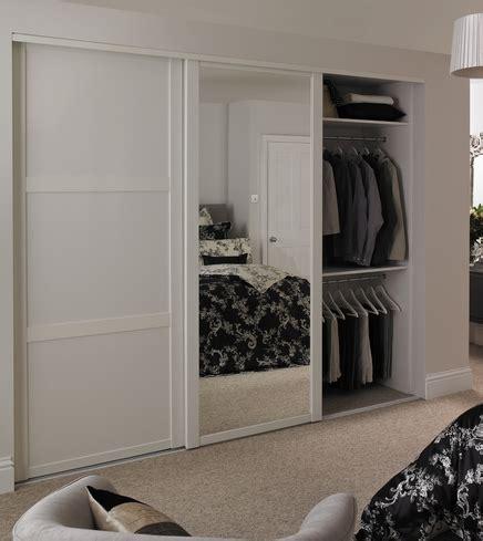 Howdens Wardrobes - white shaker panel mirror door sliding wardrobe doors