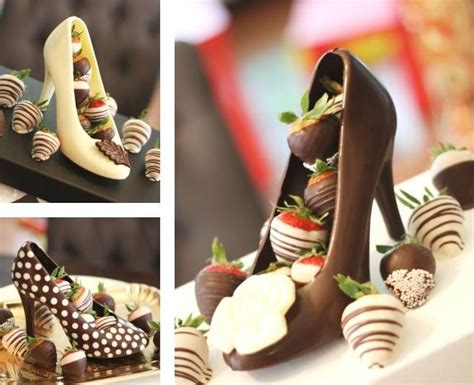 Heels Choco chocolate shoes filled with strawberries what is this sorcery tummy yum yums