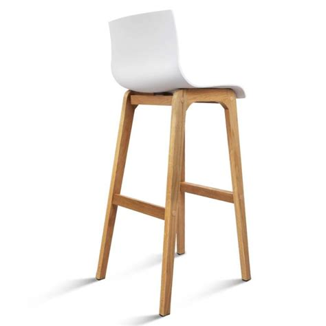 Buy Bar Stools Australia by 2x Plastic Bar Stools With Oak Wood Legs In White Buy