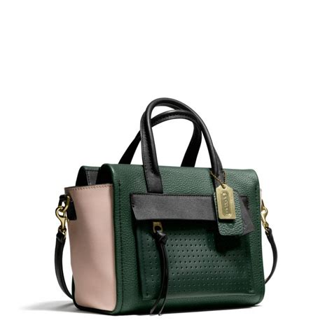 The Coach Bleecker Tattersall Shopping Bag by Lyst Coach Bleecker Mini Caryall In Mixed Media