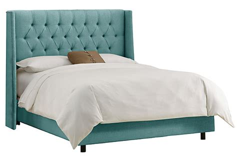 teal upholstered headboard alexander tufted wingback bed teal