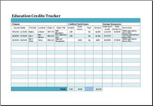 Tracker Template ms excel education credits tracker template excel templates