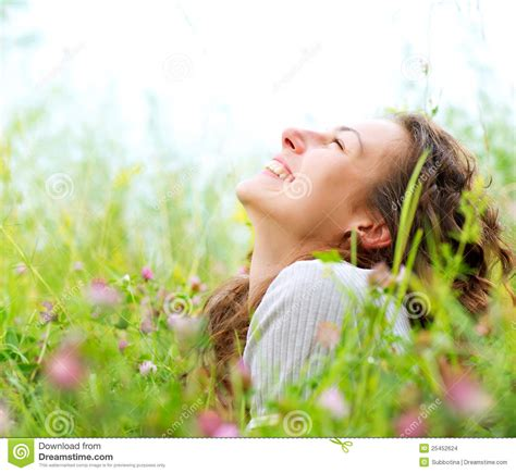 girl lying bed with flowers woman lying in meadow of flowers stock photo image 25452624