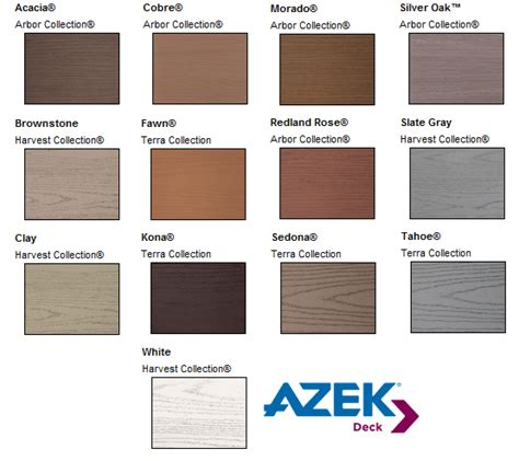 azek colors composite deck colors