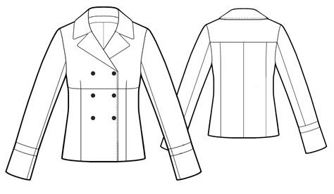 drawing jacket pattern double breasted jacket sewing pattern 5494 made to