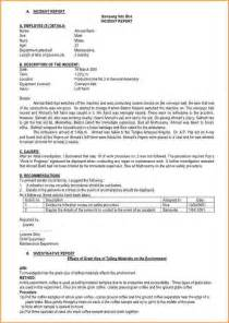 Company Incident Report Sample 13 Incident Report Sample Bibliography Format