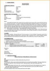 Format Of Incident Report Sample 13 Incident Report Sample Bibliography Format
