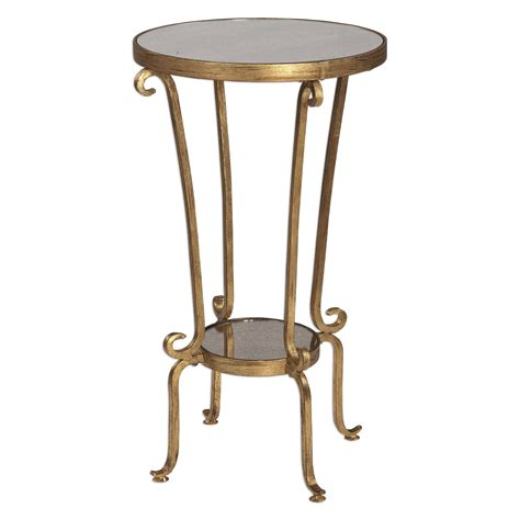 iron accent table vevina french deco curled iron accent table in antiqued