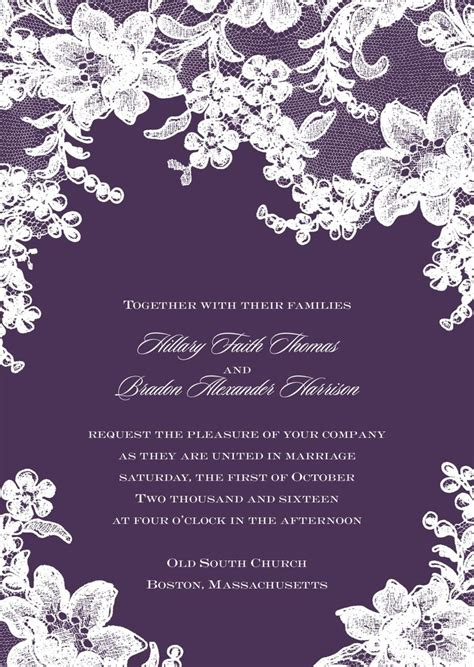 david s bridal lace wedding invitations lace wedding invitation plum invitations by